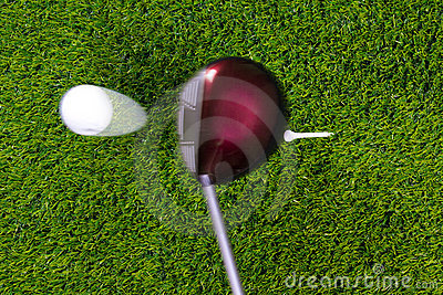 Golf tee shot with driver