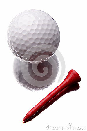 Golfbal en T-stuk