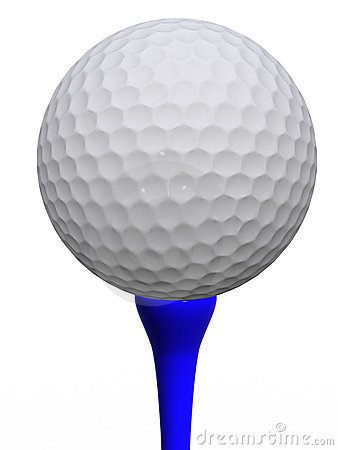 Golfball and blue tee