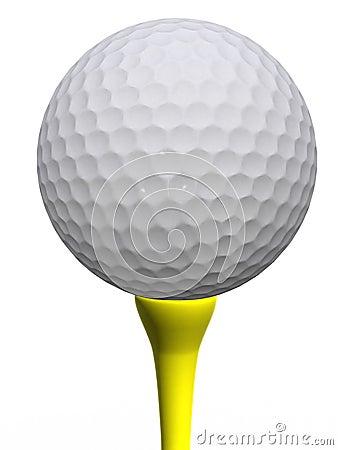 Golfball en geel T-stuk