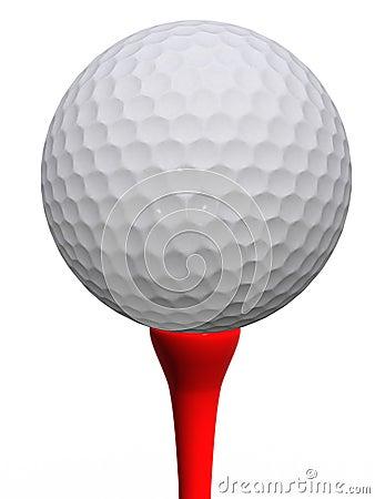 Golfball en rood T-stuk