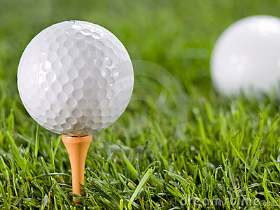 Golfball on the grass.