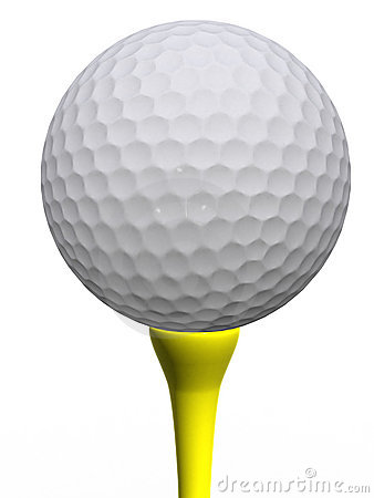 Golfball und gelbes T-Stück