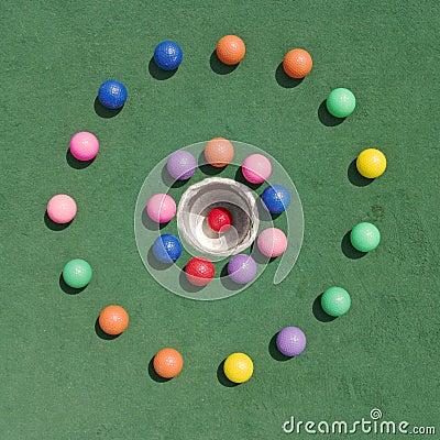 Golfballs no círculo
