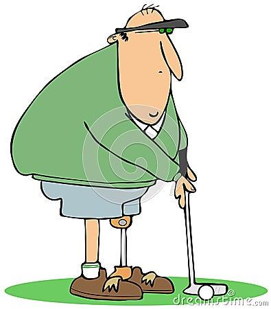 Golfer with an artificial leg