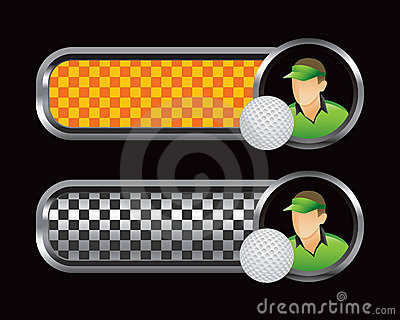 Golfer and ball on orange and black checkered tabs
