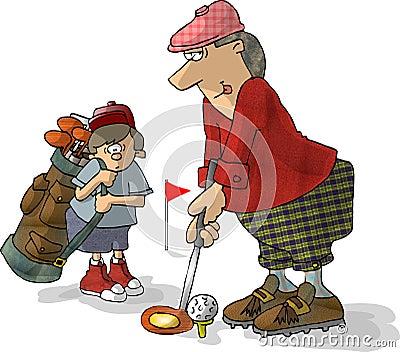 Golfer & Caddy