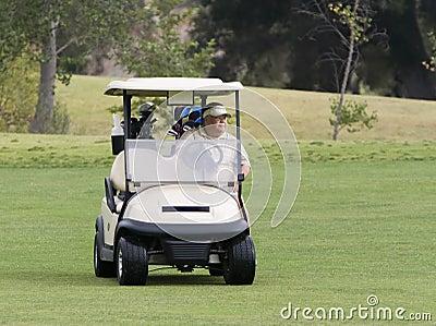 Golfer in Cart