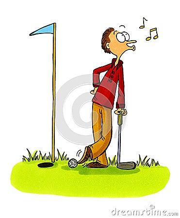 Golfer cheating - Golf Cartoons Series Number 5