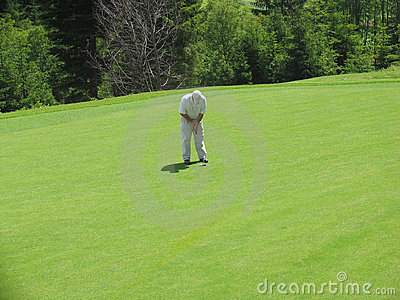 Golfer concentrated
