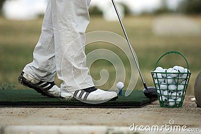 Golfer drilling initially shot