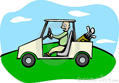 golfer driving a golf cart vector illustration