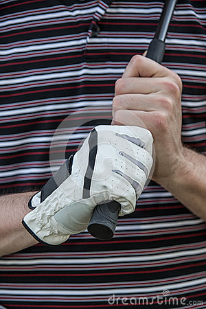 Golfer with Glove Holding Club