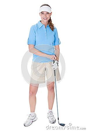 Golfer with a golf club
