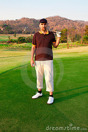 Golfer on green