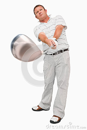 Golfer with his club