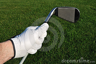 Golfer Holding an Iron (Golf Club)