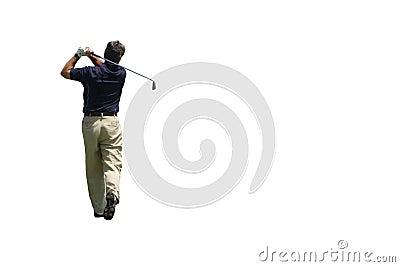 Golfer Iron shot isolated