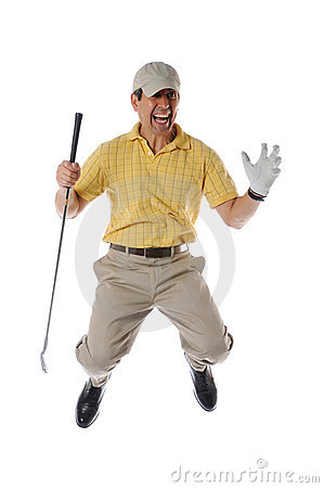 Free Golfer Jumpinp Royalty Free Stock Images - 9261089