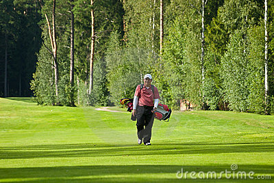 Golfer from Jupan on golf feeld Editorial Stock Photo