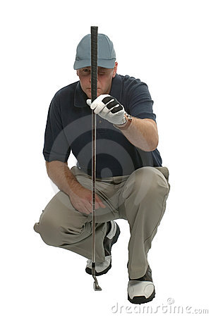 Golfer lining up a putt.
