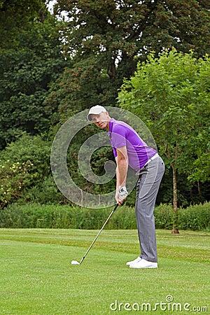 Golfer looking at target