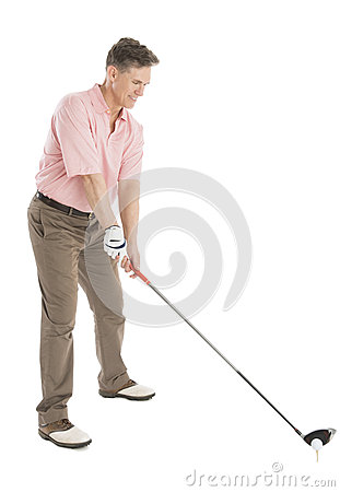Free Golfer Playing Golf Against White Background Stock Photos - 32062163