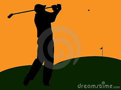 Golfer Silhouette Swinging at Sunset