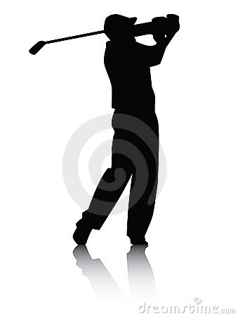 Free Golfer Silhouette With Shadow Royalty Free Stock Images - 5087279