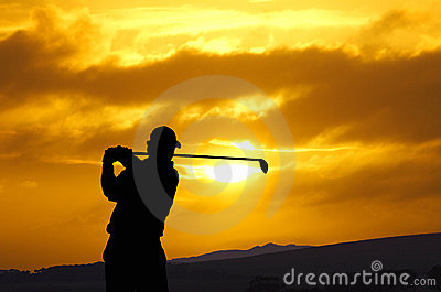 Golfer sunset sw