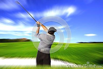 Golfer swing blur