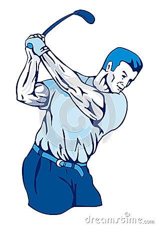 Golfer swinging club blue