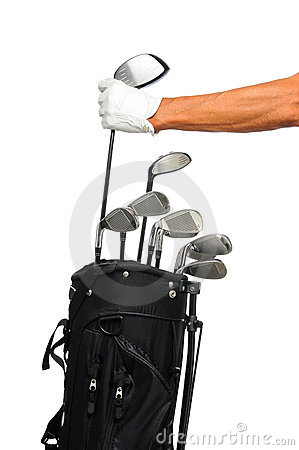 Golfer taking club from bag