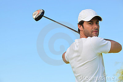 Golfer taking a swing