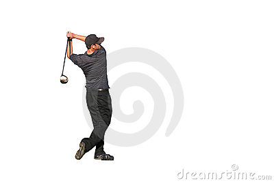 Golfer tee shot Isolated