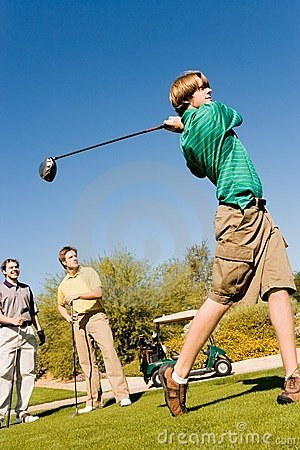 Golfer Teeing Off Royalty Free Stock Photography - Image: 13584967