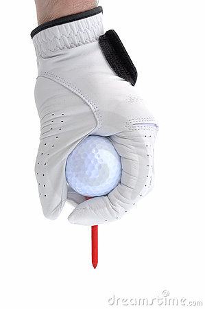 Golfer Teeing Up a Golf Ball