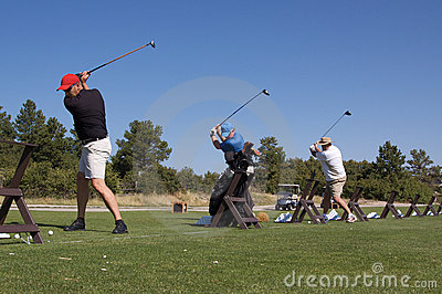 Golfers on Practice Range
