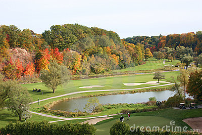 Golfing in autumn