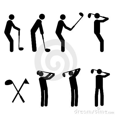 Golfing man silhouttes