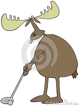 Golfing moose