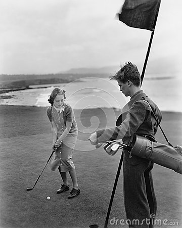 Free Golfing On The Coast Royalty Free Stock Photos - 52003298