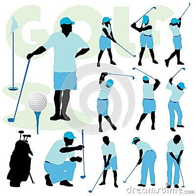 Golfing people
