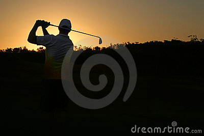 Golfing silhouette