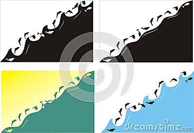 Golfinhos e mar de salto