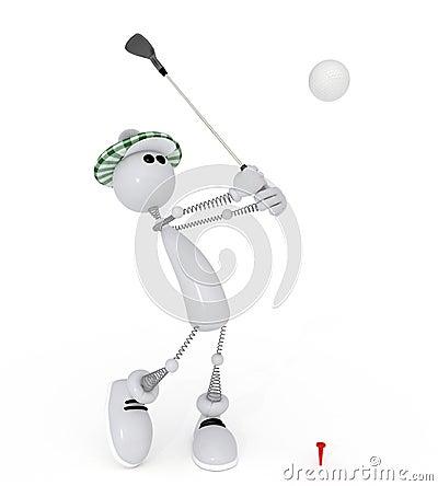 Golfist pequeno do homem 3d.