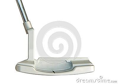 Golfklubbputter på vit bakgrund