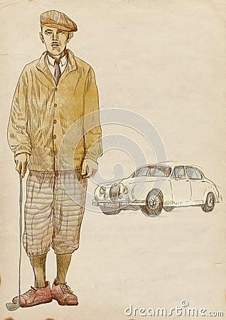 Golfowy gracz - rocznika mężczyzna (z samochodem)