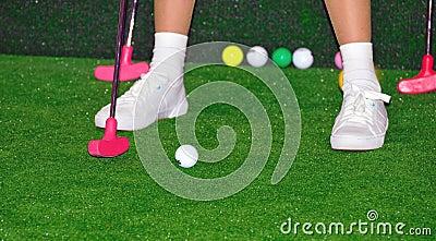 Golfspeler in actie