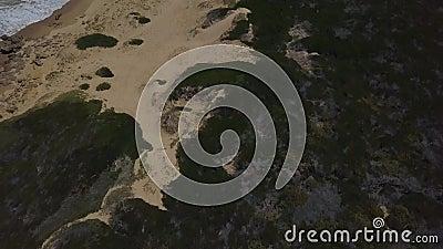 Golven en een dramatisch onaangeroerd strand in Zuid-Afrika stock videobeelden